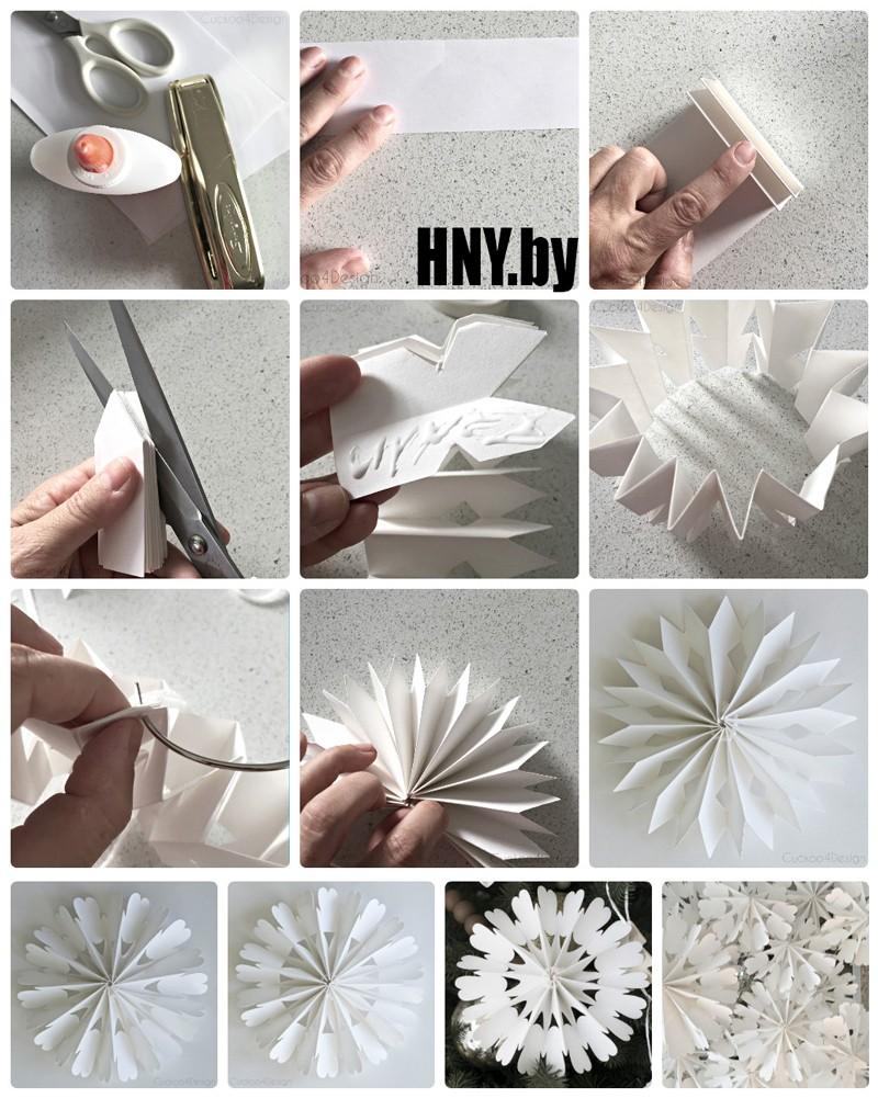 Объемная снежинка из бумаги: декорируем помещение к вечеринке