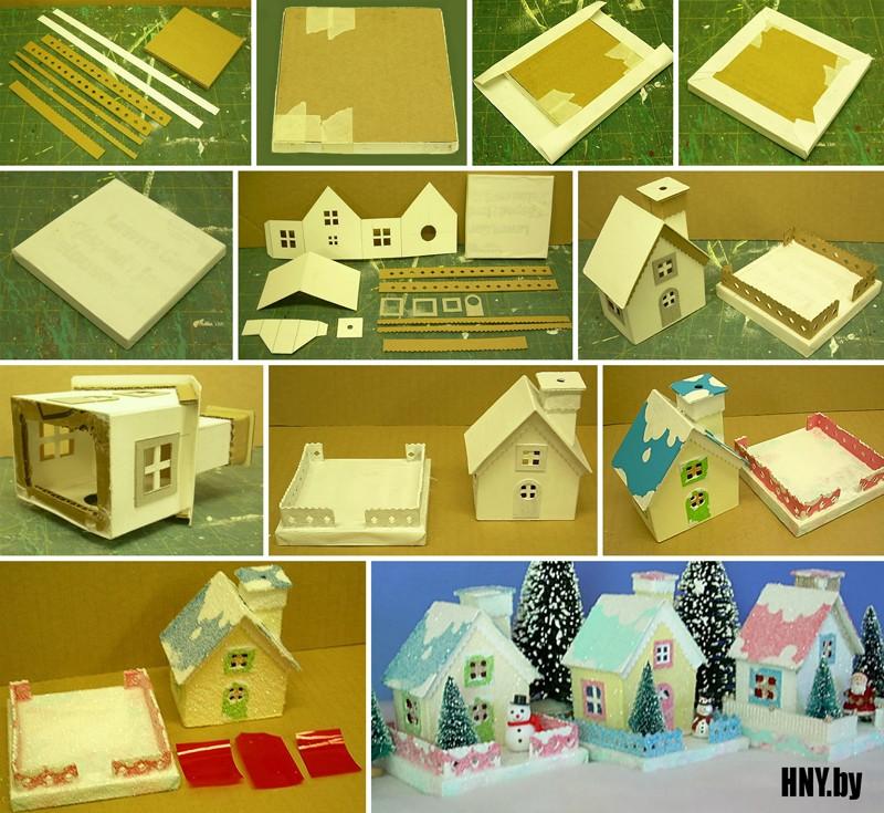 Новогодний домик из картона: делаем небольшие коттеджи своими руками + Схема