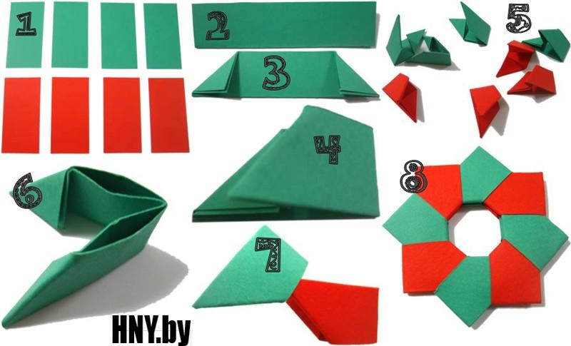 Делаем миниатюрный венок в технике оригами: украшаем елку своими руками