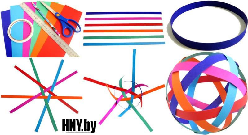 Новогодний шар из бумажных полосочек: схема изготовления поделки из бумаги