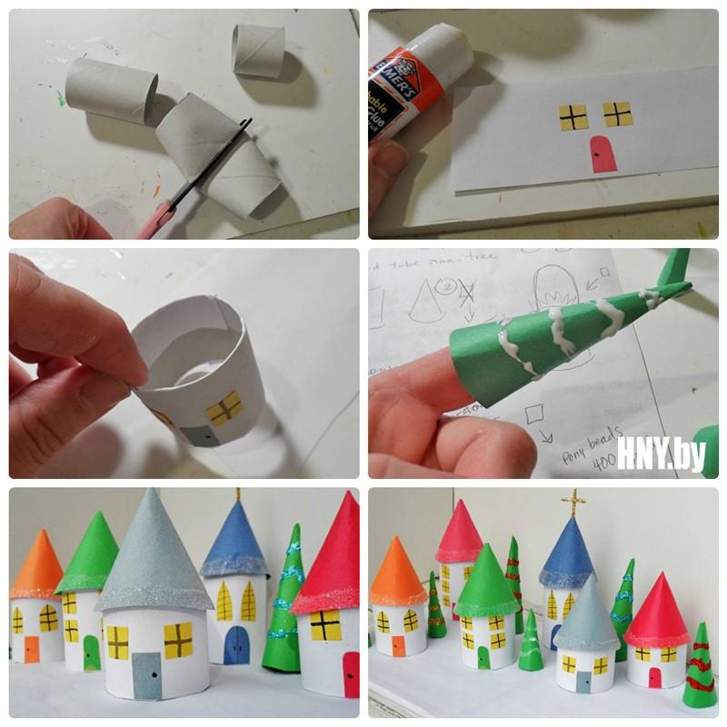 Поделка новогодний домик своими руками: как сделать домик из цилиндров от туалетной бумаги