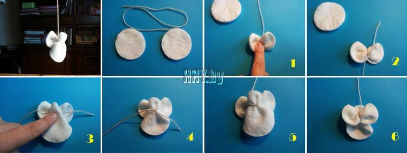 Новогодние поделки из ватных дисков: мк по изготовлению ангелочков своими руками