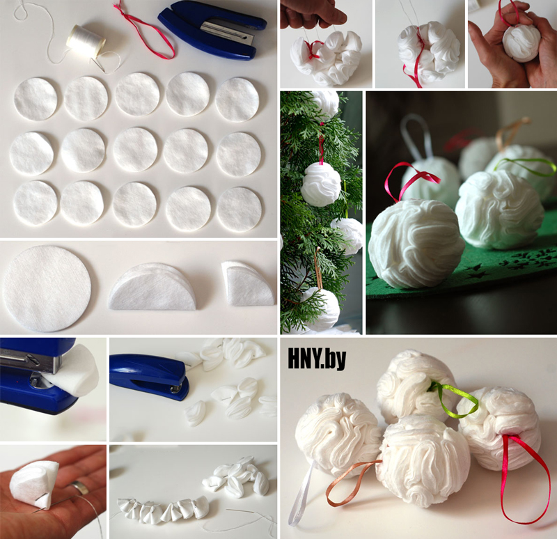 Новогодние поделки из ватных дисков: делаем елочный шар из ватных дисков своими руками