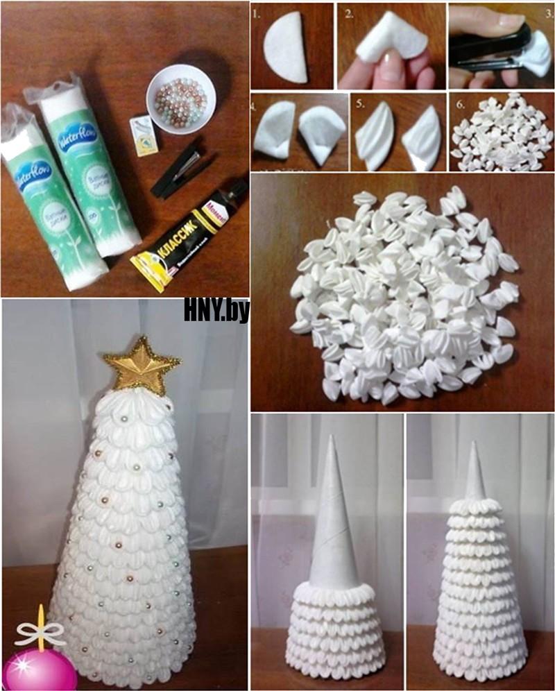 Поделки из ватных дисков на Новый год: делаем елку своими руками