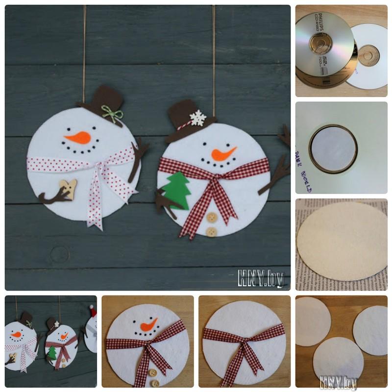 Новогодние снеговики из старых дисков: делаем поделки к новому году из подручных материалов