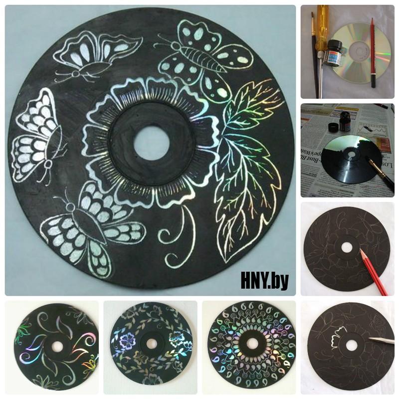 Елочный шар из старых дисков: новогодние поделки из CD своими руками