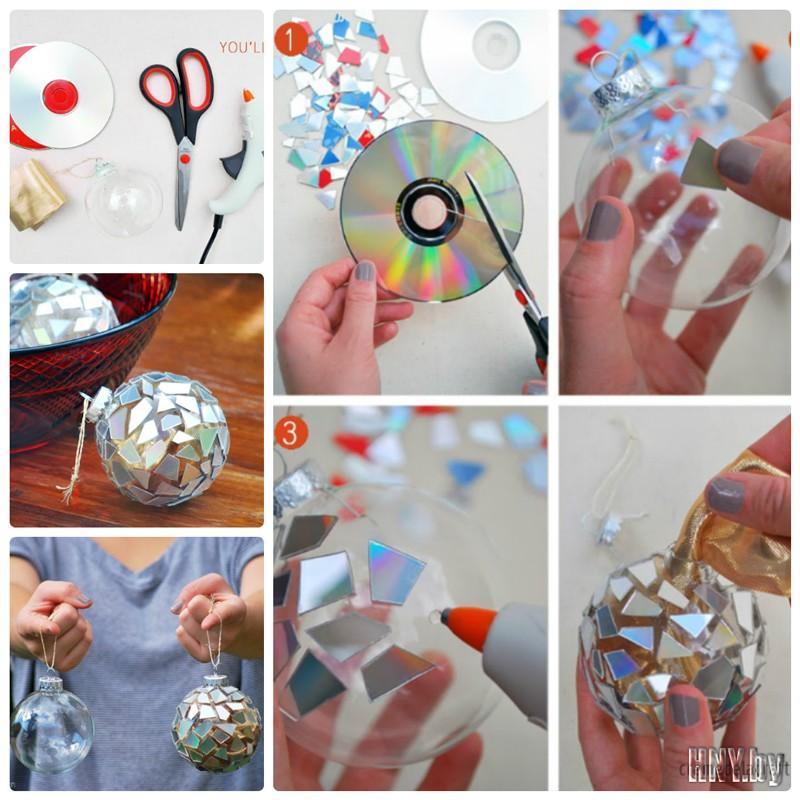 Елочный шар из старых дисков: украшаем новогоднюю елку своими руками
