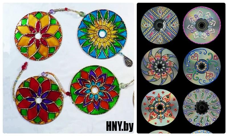 Новогодние поделки из дисков своими руками: декорируем CD витражными красками