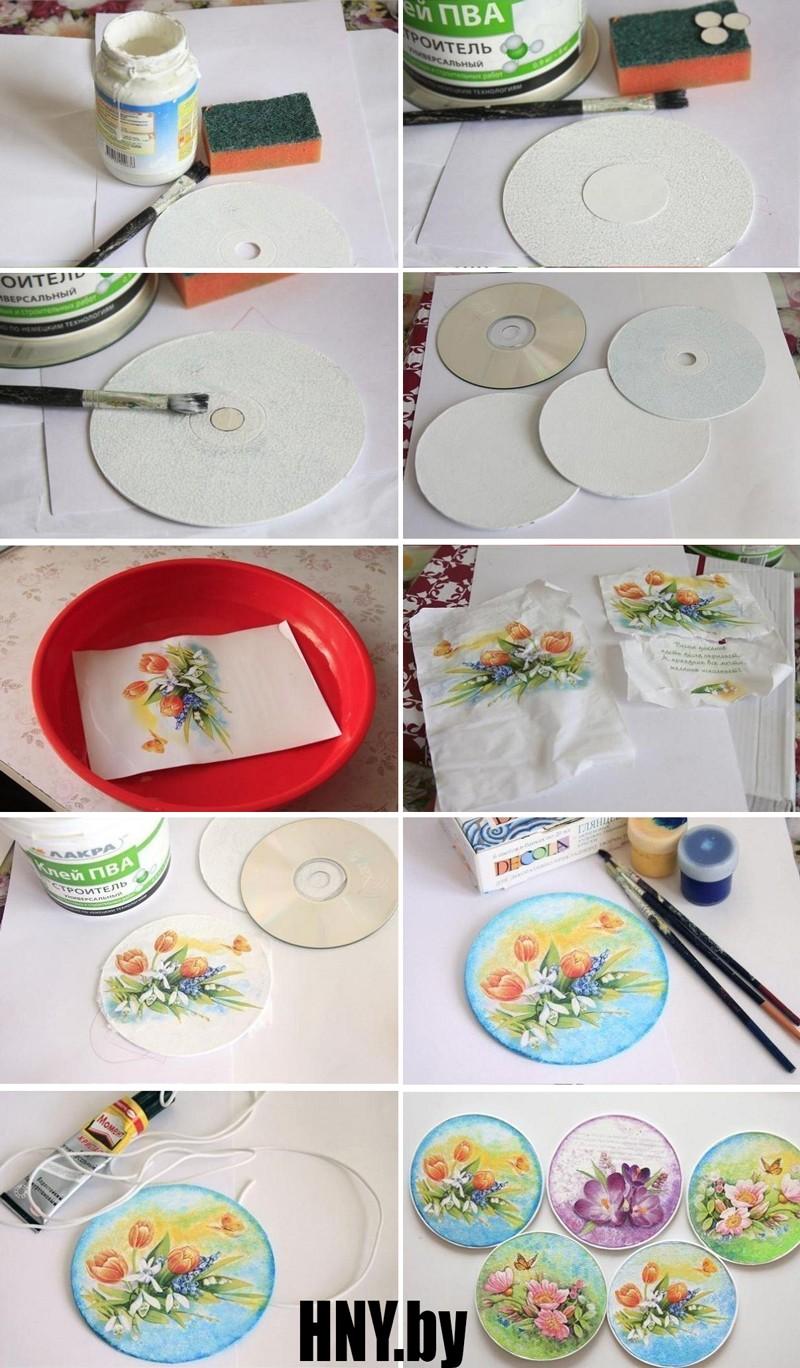 Новогодний декупаж: декорируем старые диски своими руками