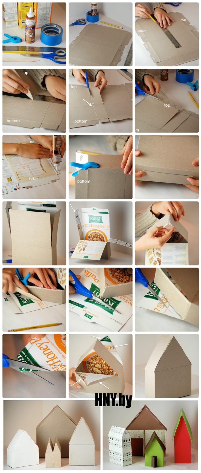 Домик из коробки своими руками, новогодние поделки из подручных материалов