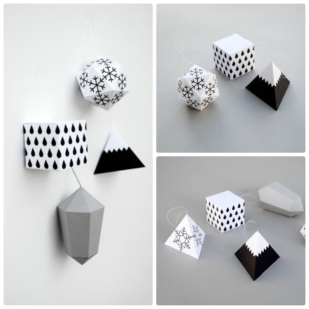 Геометрические украшения на Новый год: делаем объемные поделки из бумаги своими руками