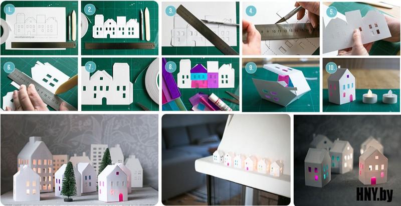 Новогодние мини домики своими руками: делаем поделки вместе с детьми + Схема