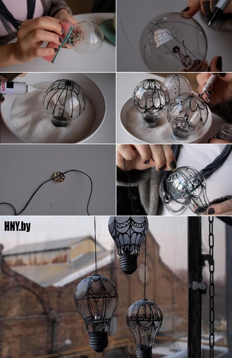Новогодние поделки из старых лампочек: мастер класс по изготовлению воздушного шара своими руками