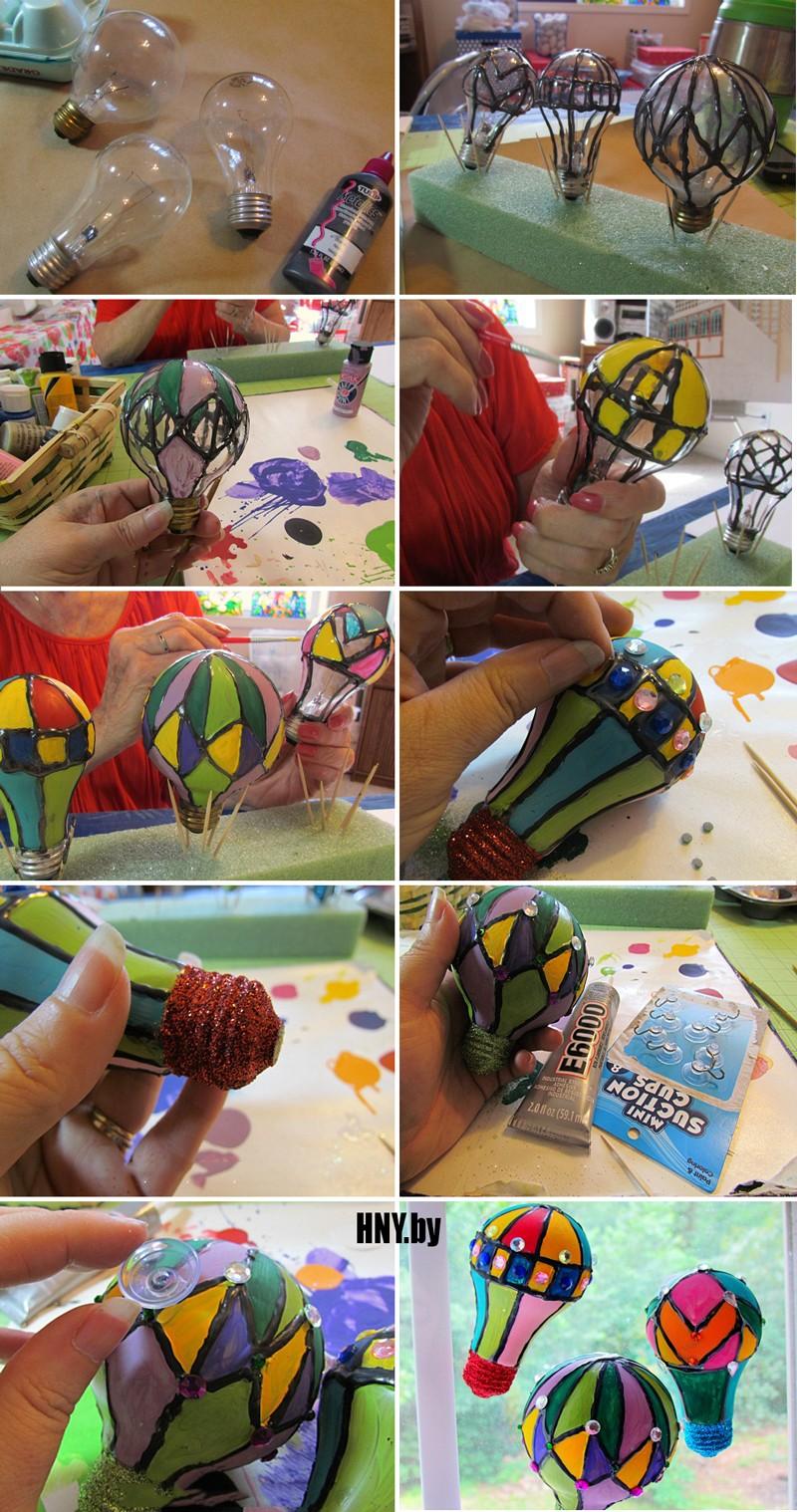 Новогодние игрушки на елку своими руками из старых лампочек: делаем воздушный шар