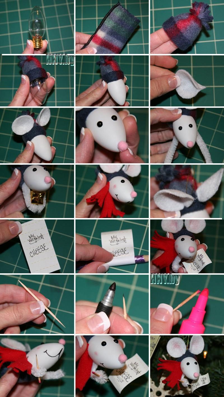Елочные игрушки из старых лампочек: делаем мышонка своими руками