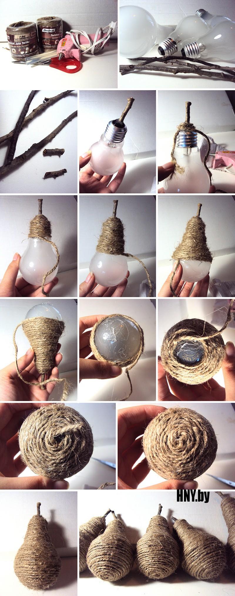 Новогодние игрушки из лампочек делаем своими руками