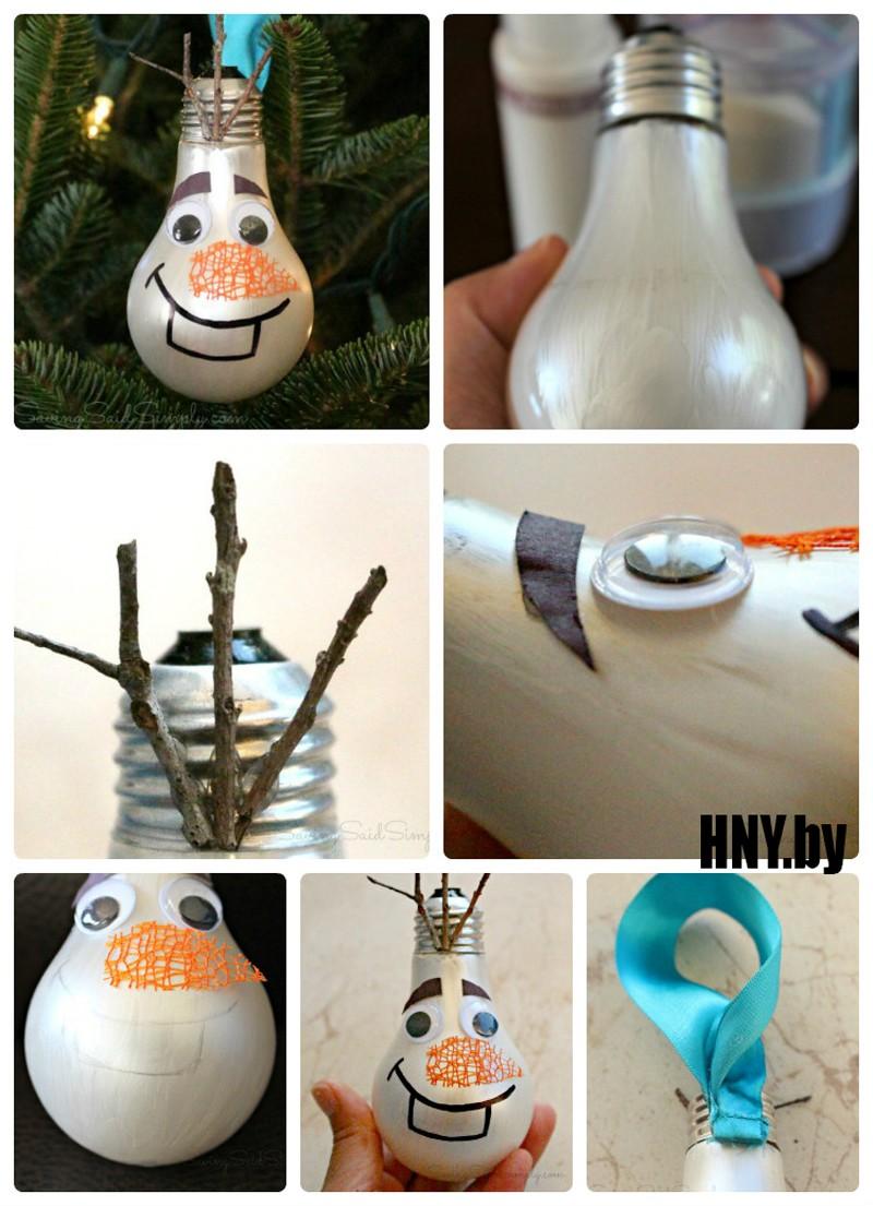 Мастер класс: снеговик из старых лампочек