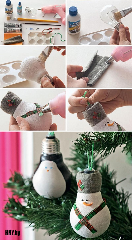 Делаем снеговика из старых лампочек: новогодние поделки из лампочек своими руками