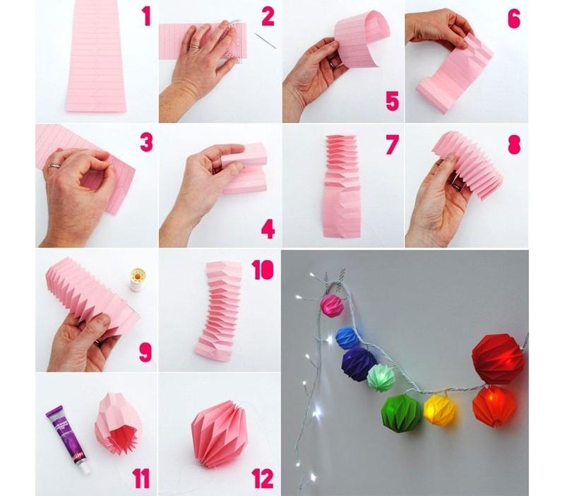 Декорируем новогоднюю гирлянду: делаем бумажные фонарики своими руками. Схема
