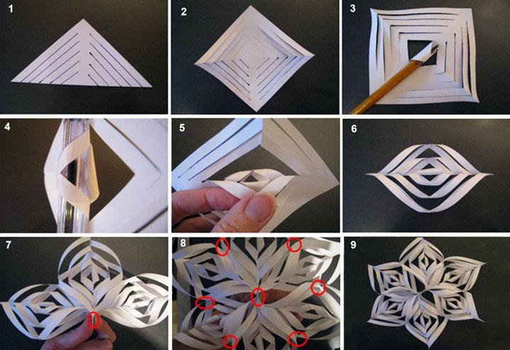 Объемная снежинка на елку: делаем елочные игрушки из бумаги своими руками