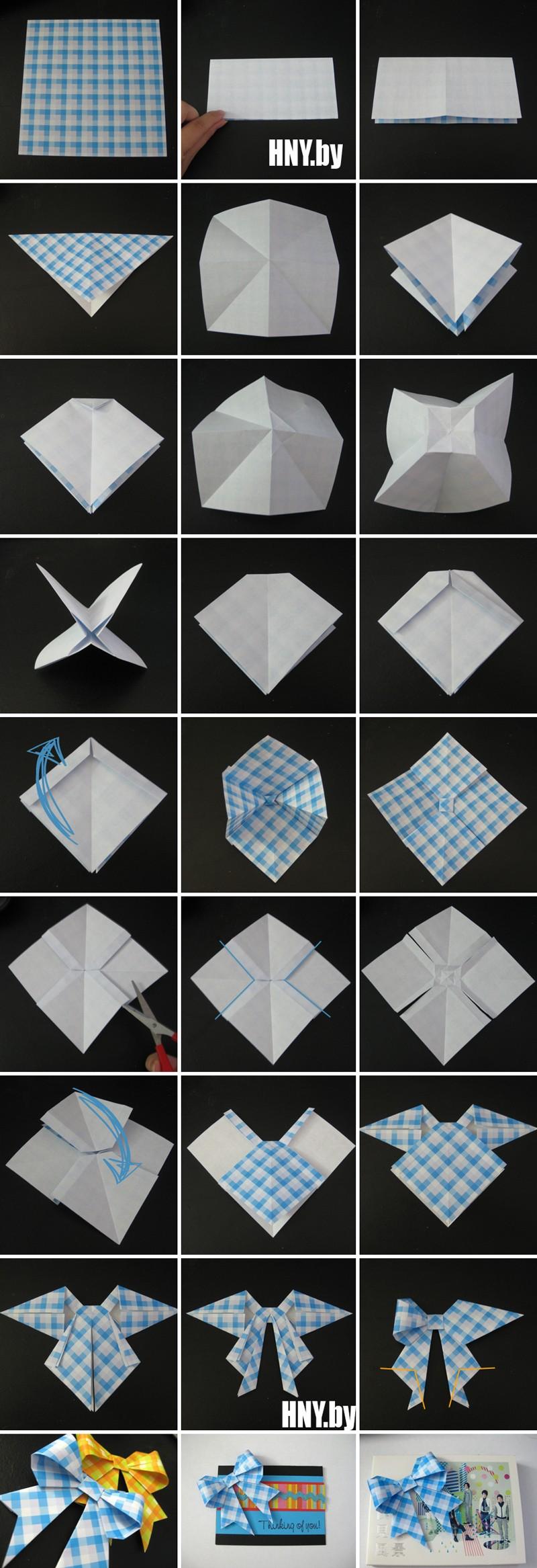 Поделки из бумаги оригами: делаем объемный бант