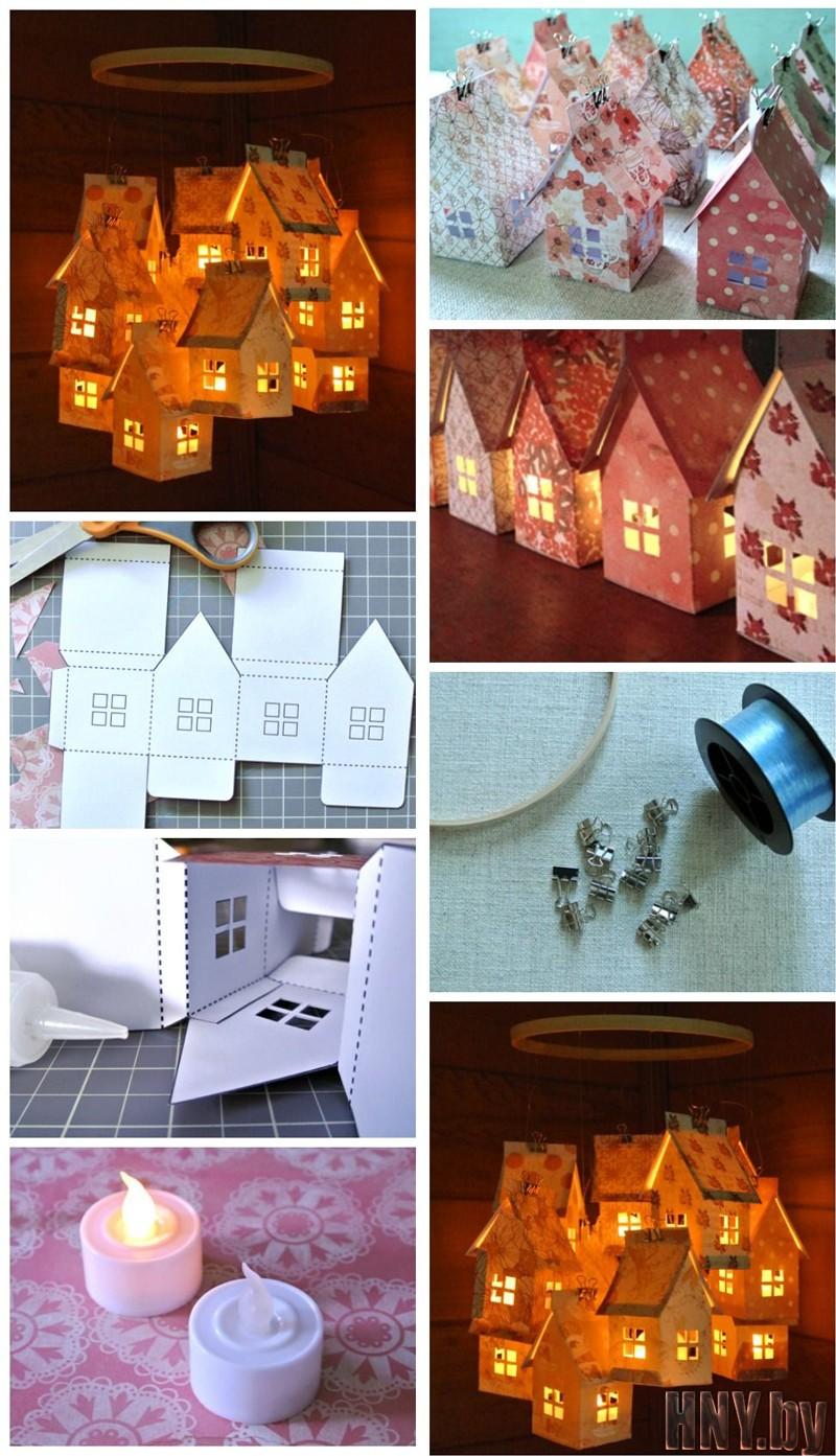 Поделки из бумаги на новый год: делаем объемный домик своими руками