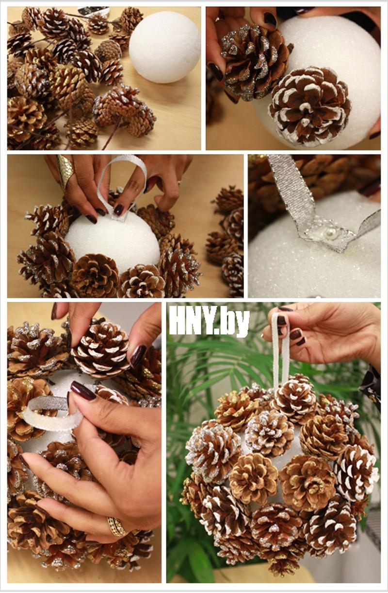 Поделки из шишек на новый год: делаем шар своими руками