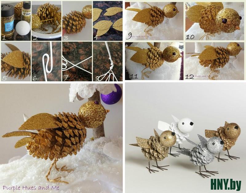 Поделки из шишек к новому году: делаем блестящих птичек вместе с детьми