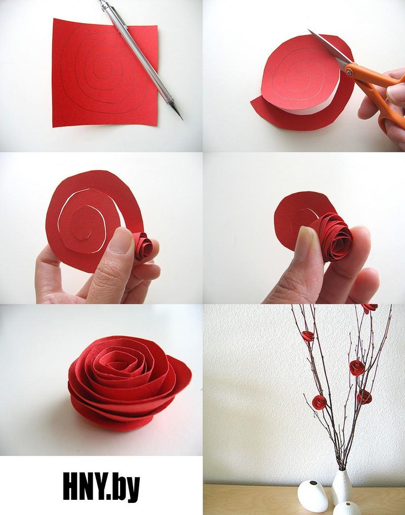 Делаем розы из бумаги: новогодние поделки для декорирования дома