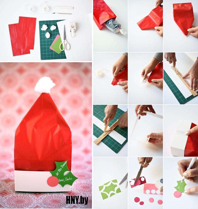 Подарок в шапке Санты: делаем новогодние поделки из бумаги своими руками