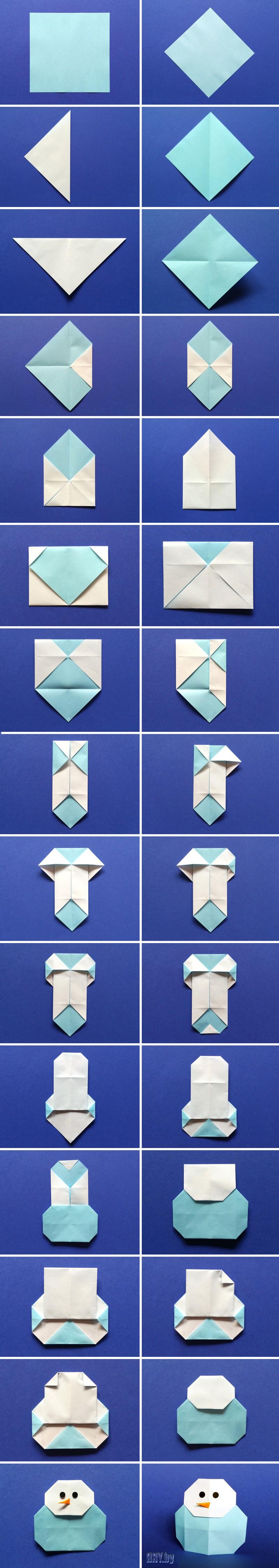 Поделки из бумаги оригами: как сделать снеговика. Пошаговая схема