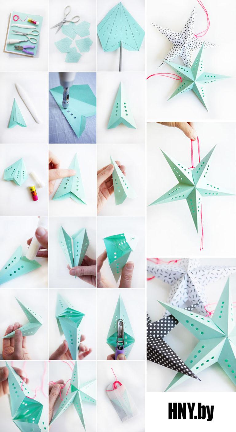 Оригами звезда (звездочка) Схема из бумаги в видео