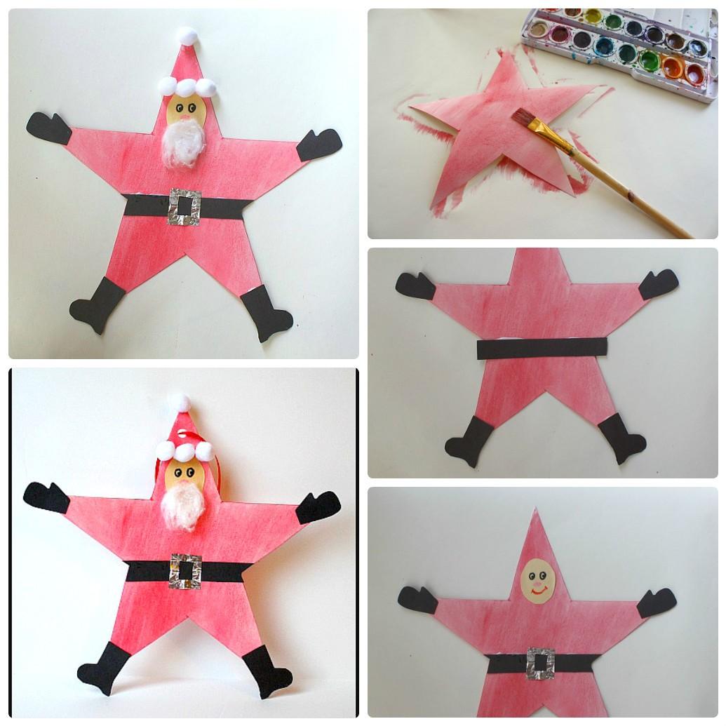 Новогодние поделки из бумаги для детей: делаем бумажную звезду-Санту