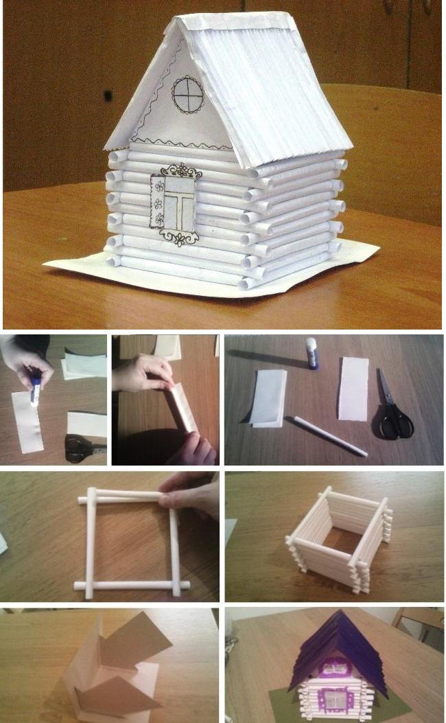 Поделка домик из бумажных трубочек своими руками: делаем новогодние поделки с детьми