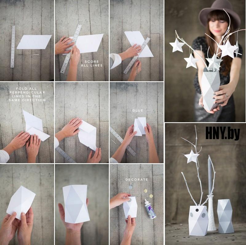 Бумажная ваза своими руками: схема новогодней поделки своими руками
