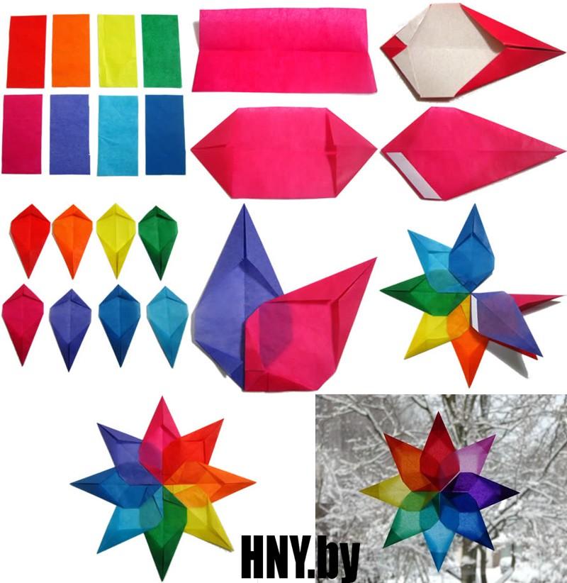 Новогодняя звезда на окно: делаем поделки из бумаги на Новый год своими руками