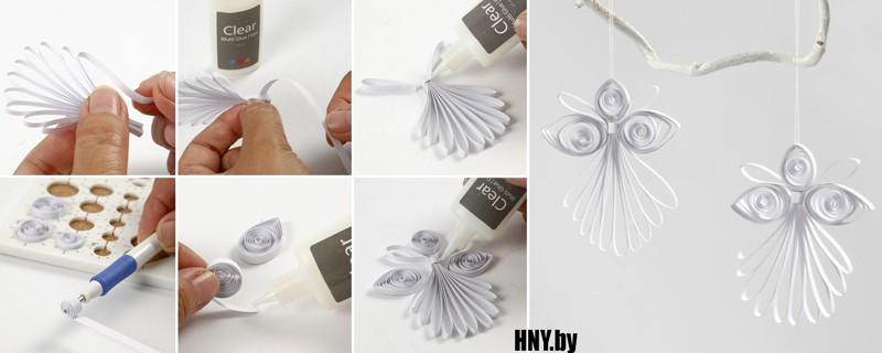 #3 Игрушка из бумаги на елку: делаем ангела в технике квилинг