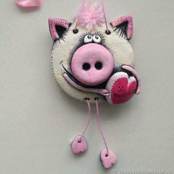 Елочные игрушки из соленого теста своими руками: свинка