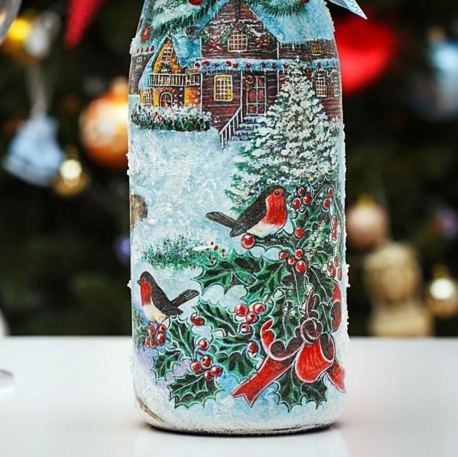 Украшение новогодних бутылок
