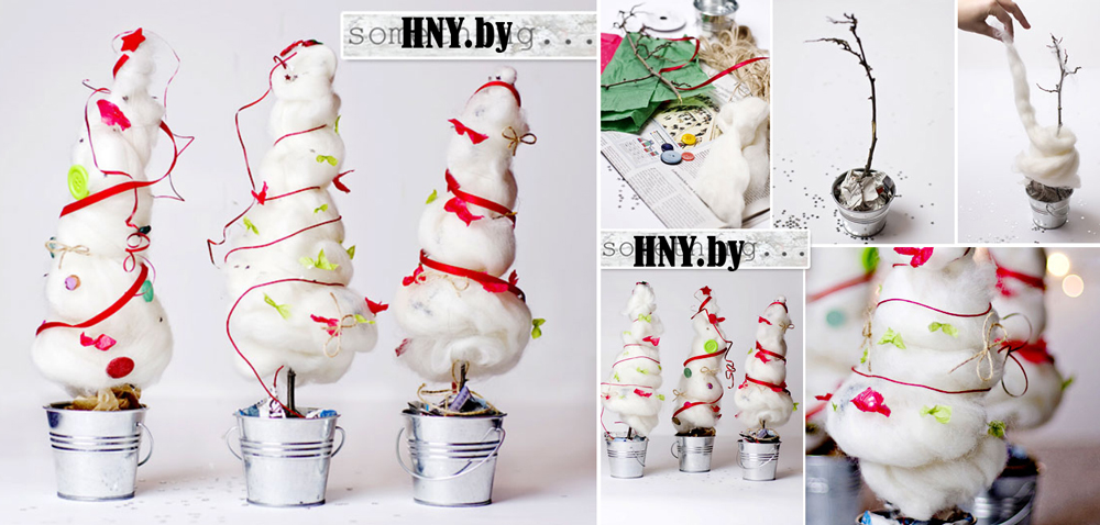 Новогодняя елка из ваты