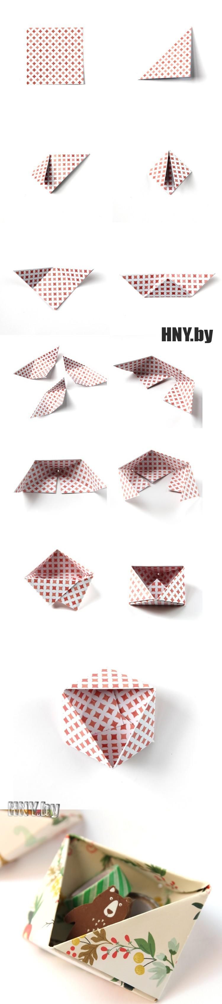 """Коробочка в технике оригами """"Объемный треугольник"""""""