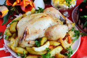 Праздничная курица с яблоками