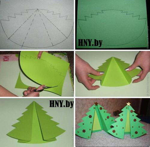 Простая и очень милая новогодняя елочка из бумаги своими руками. Схема