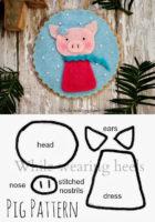 Новогодняя игрушка свинка, шаблон