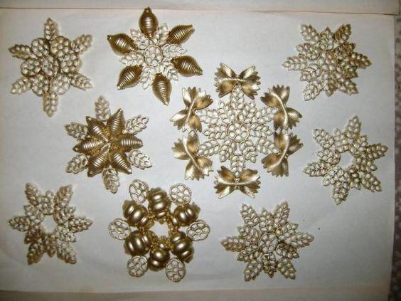 снежинки на Новый год из макарон