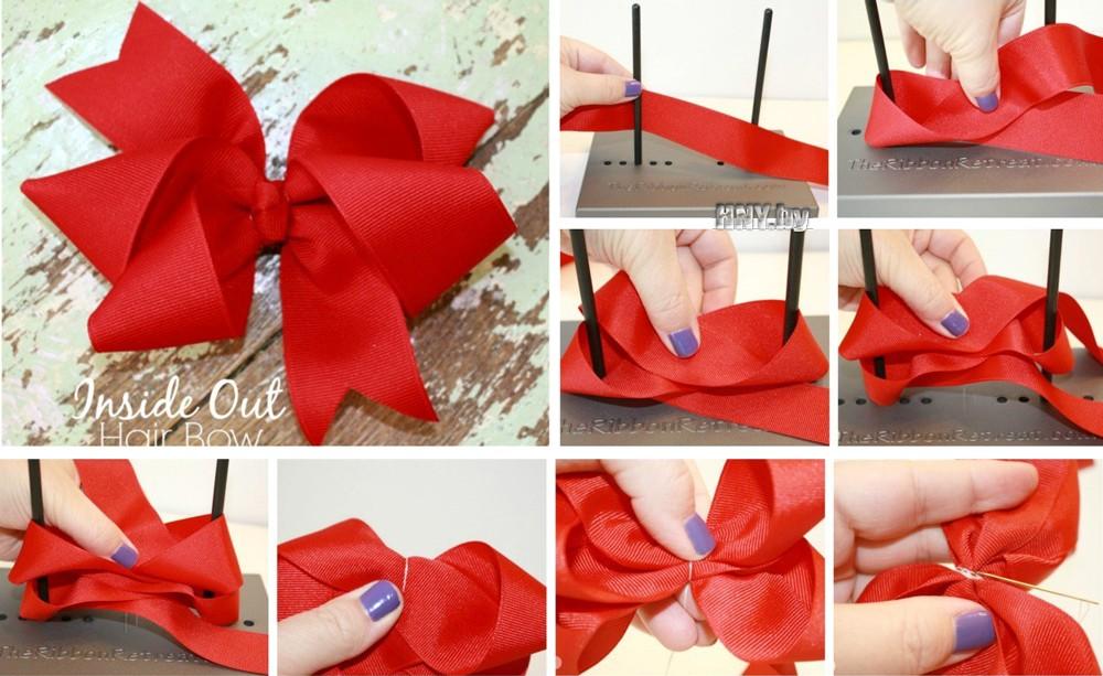 Сделать бант из атласной ленты на подарок на коробку 11