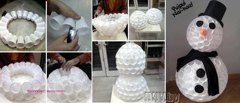 Снеговик из пластиковых стаканчиков своими руками: пошаговый мастер класс