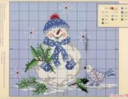 Снеговик: схема вышивки