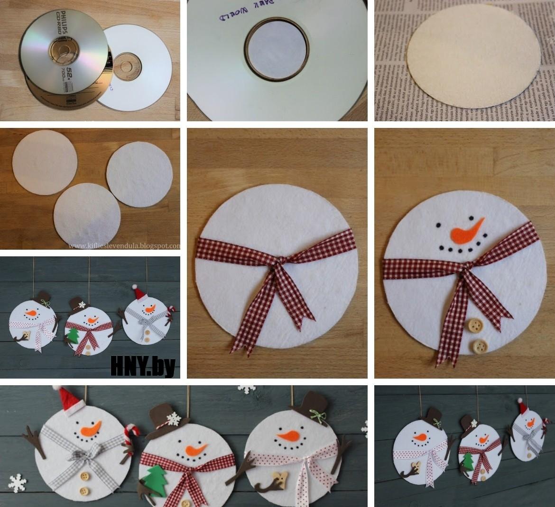 Снеговик из старого CD диска, новогодние поделки из подручных материалов