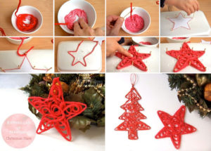 Новогодняя звезда из ниток, поделки на Новый год из подручных материалов